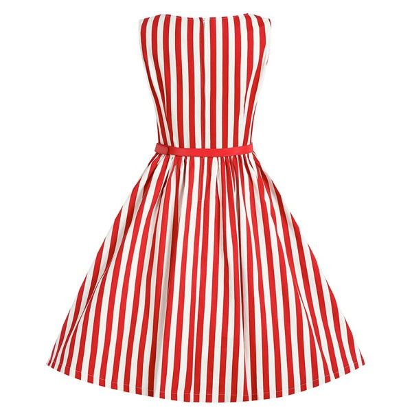 Women 1950s Swing Sleeveless Striped Gown Pinup Plus Size Dress CF1365 red