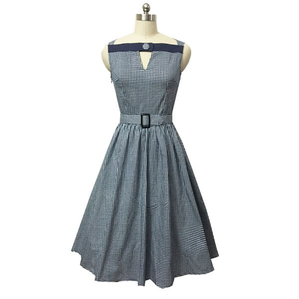 Women 1950s Swing Vintage Checked Sleeveless With Belt Cocktail Picnic Dress CF1422 black white