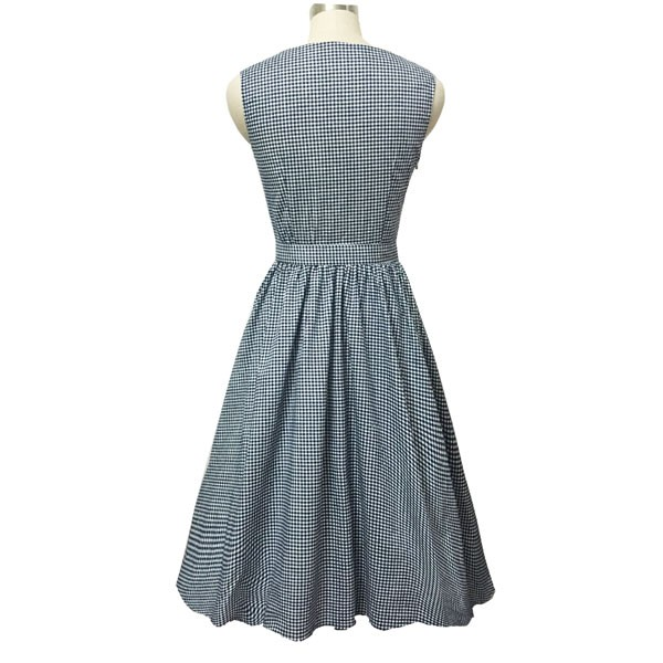 Women 1950s Swing Vintage Checked Sleeveless With Belt Cocktail Picnic Dress CF1422 black white_02