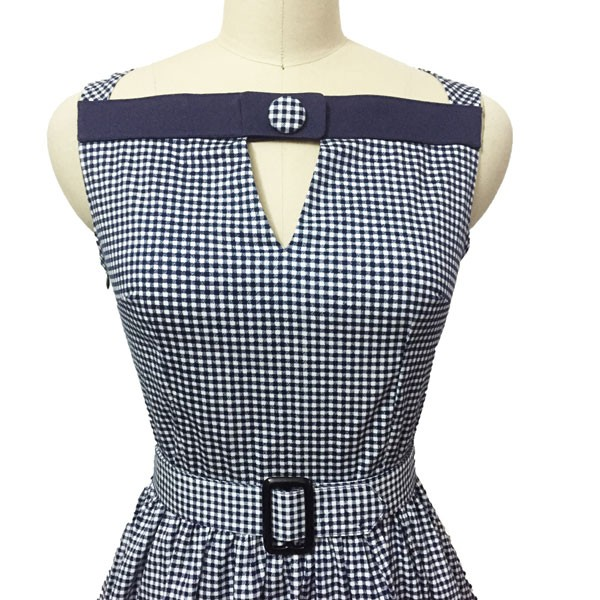 Women 1950s Swing Vintage Checked Sleeveless With Belt Cocktail Picnic Dress CF1422 black white_04