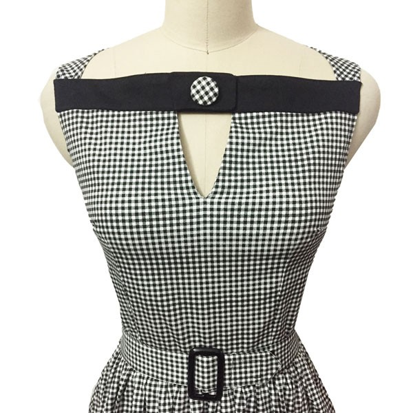 Women 1950s Swing Vintage Checked Sleeveless With Belt Cocktail Picnic Dress CF1422 gray_03