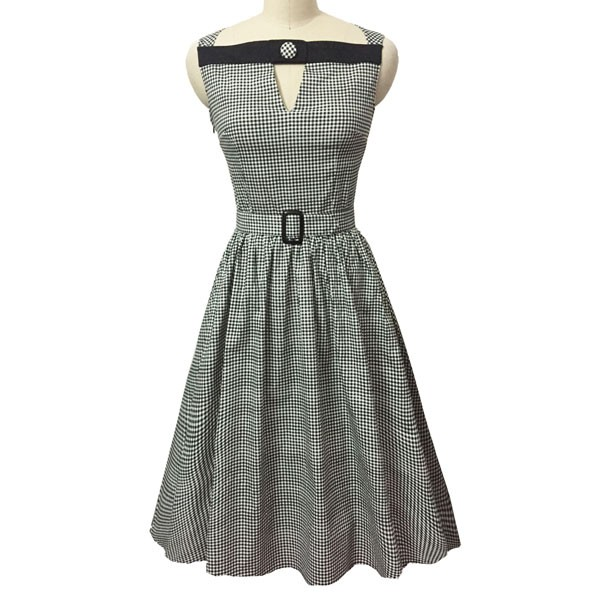 Women 1950s Swing Vintage Checked Sleeveless With Belt Cocktail Picnic Dress CF1422 gray_01