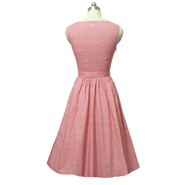 Women 1950s Swing Vintage Checked Sleeveless With Belt Cocktail Picnic Dress CF1422 pink _06
