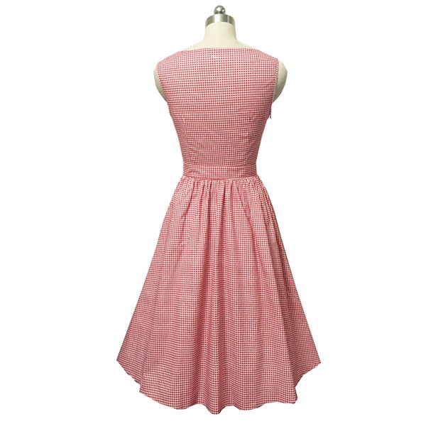 Women 1950s Swing Vintage Checked Sleeveless With Belt Cocktail Picnic Dress CF1422 pink _07