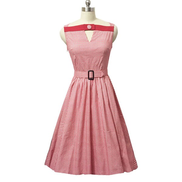 Women 1950s Swing Vintage Checked Sleeveless With Belt Cocktail Picnic Dress CF1422 pink -_01