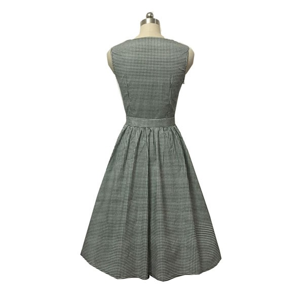 Women 1950s Swing Vintage Checked Sleeveless With Belt Cocktail Picnic Dress CF1422 gray_04