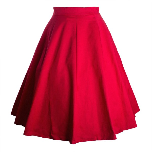 Women 50s Rockabilly Pleated Vintage Skirts Floral Print Midi Skirt red_01