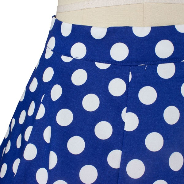 Women 50s Rockabilly Pleated Vintage Skirts Polka Dots Midi Skirt blue dots_01