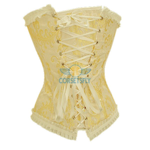Women Chinese Phoenix Pattern Jacquard Weave Lace Trim Strapless Corset CF5106 Yellow_01