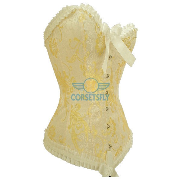 Women Chinese Phoenix Pattern Jacquard Weave Lace Trim Strapless Corset CF5106 Yellow