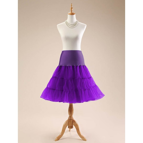 Women Petticoat Skirt 1950s Tutu 26 Length Net Rockabilly Underskirt CF1001 Purple