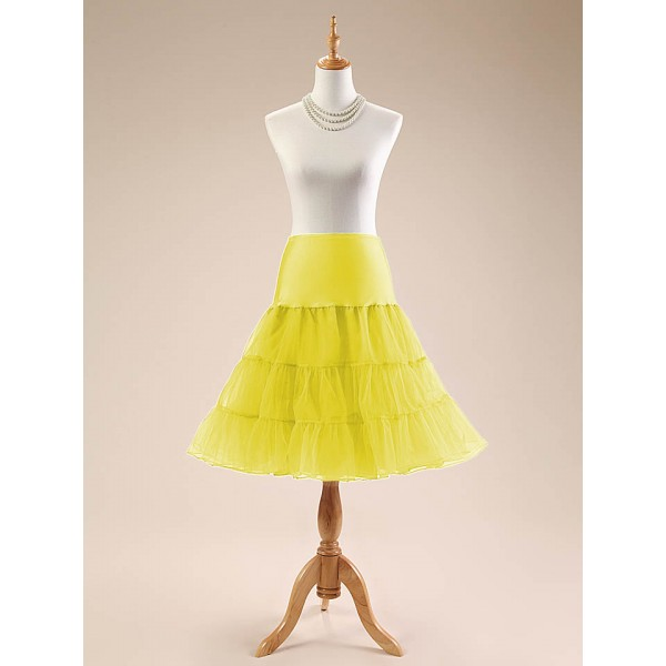 Women Petticoat Skirt 1950s Tutu 26 Length Net Rockabilly Underskirt CF1001 Yellow