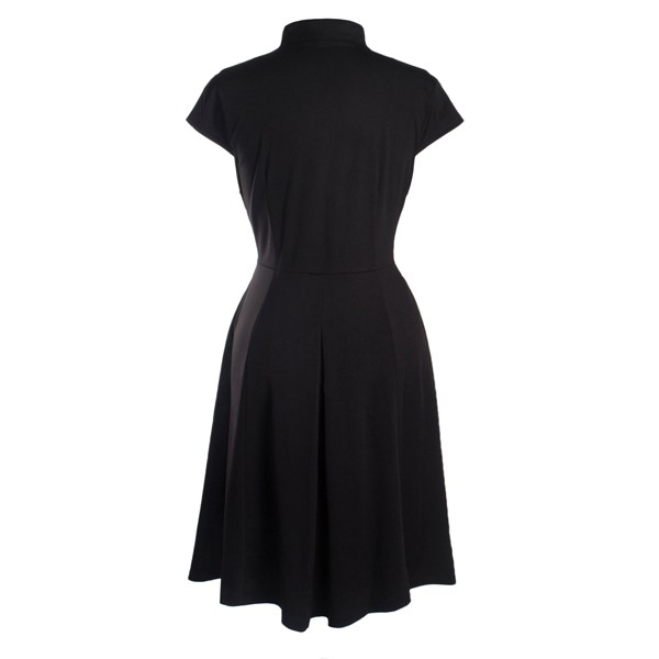 Women's 1950s Retro Vintage V-neck Cap Sleeve Party Swing Dress black_01
