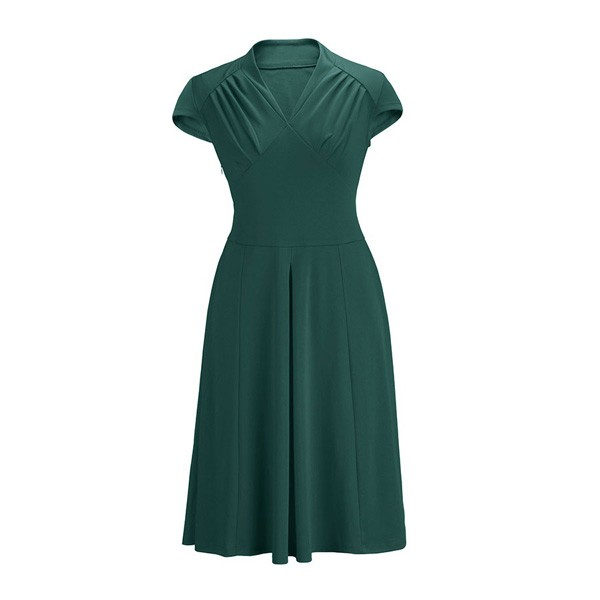 Women's 1950s Retro Vintage V-neck Cap Sleeve Party Swing Dress green
