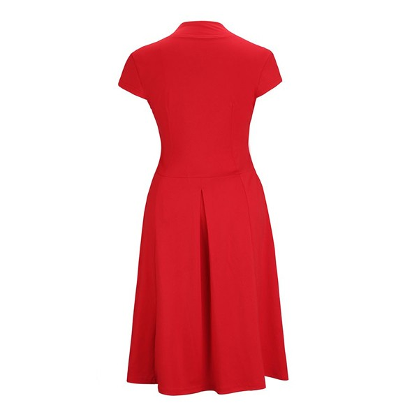 Women's 1950s Retro Vintage V-neck Cap Sleeve Party Swing Dress Red_01