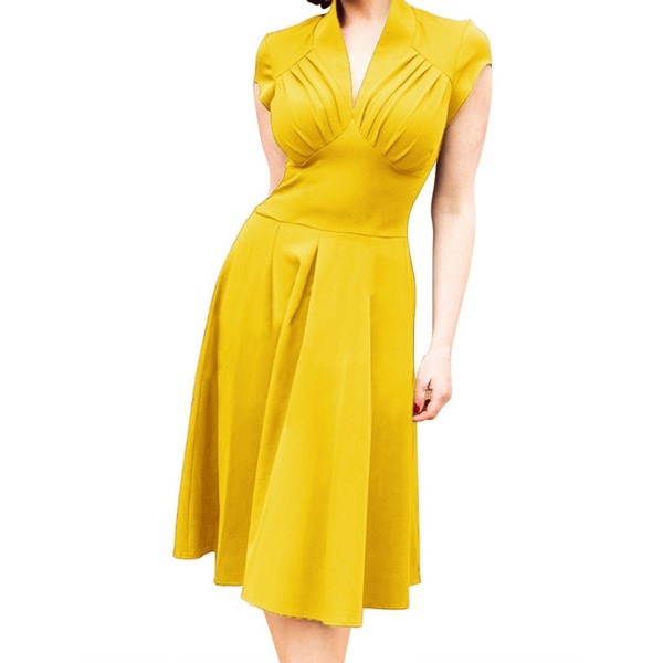 Women's 1950s Retro Vintage V-neck Cap Sleeve Party Swing Dress yellow