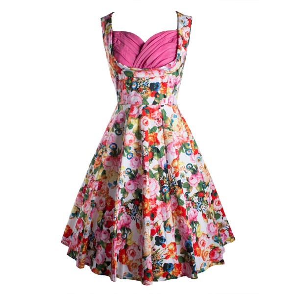 Women's 1950s Rockabilly Floral Dress Cut Out V-Neck Vintage Casual Retro Dress pink