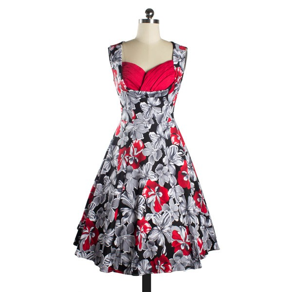 Women's 1950s Rockabilly Floral Dress Cut Out V-Neck Vintage Casual Retro Dress red