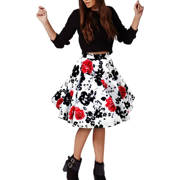 Women's 50s Rockabilly Floral High Waist A Line Pleated Full Midi Skirt red flower_05