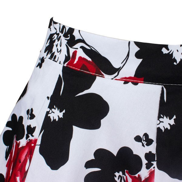 Women's 50s Rockabilly Floral High Waist A Line Pleated Full Midi Skirt red flower_06
