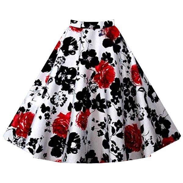 Women's 50s Rockabilly Floral High Waist A Line Pleated Full Midi Skirt red flower_02