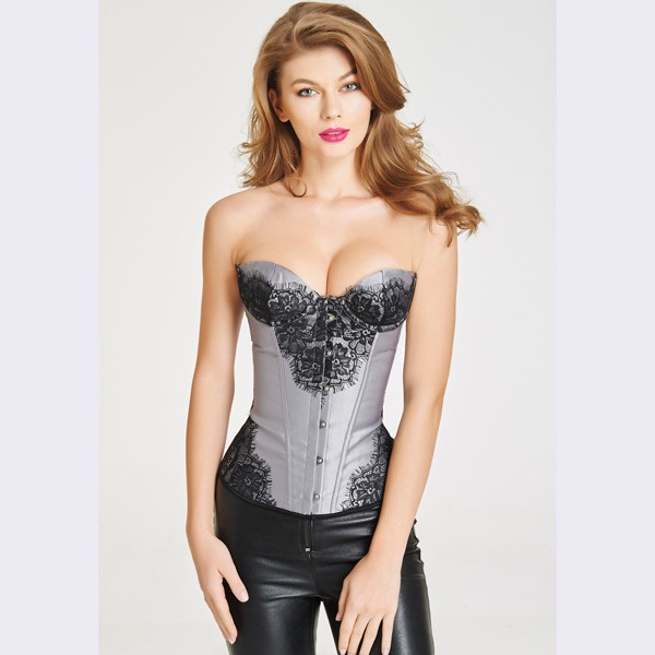 Women's Beautiful Floral Lace Overlay Lace Up Strapless satin Corset CF6004 grey