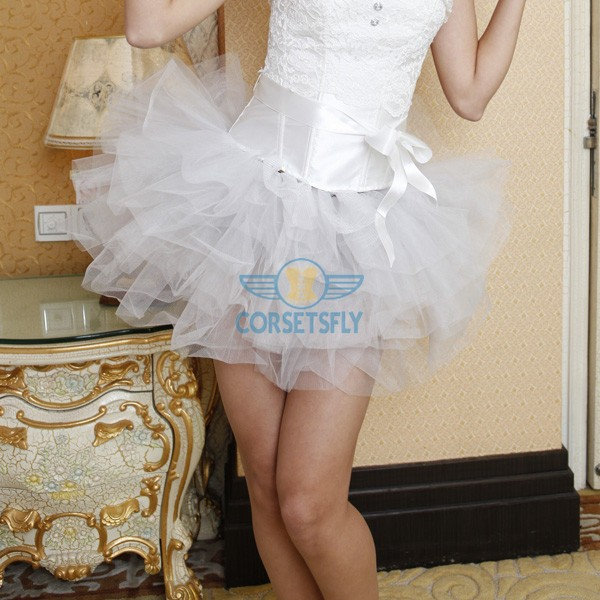Women's Burlesque Princess Costume Ballet Soft Layered Tulle Patticoat Skirt CF6517 White