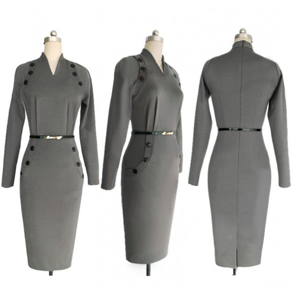 Women's Chic Business Celebrity Long Sleeve Bodycon Pencil Dresses CF1607 Gray_02