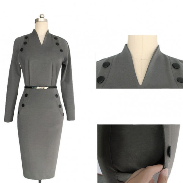 Women's Chic Business Celebrity Long Sleeve Bodycon Pencil Dresses CF1607 Gray_03