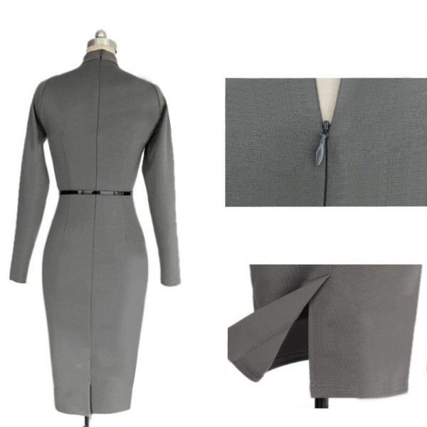 Women's Chic Business Celebrity Long Sleeve Bodycon Pencil Dresses CF1607 Gray_01