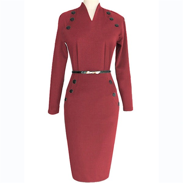 Women's Chic Business Celebrity Long Sleeve Bodycon Pencil Dresses CF1607 Burgundy_01