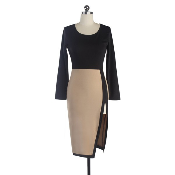 Women's Elegant Round Neck Retro Chic Long Sleeve Pencil Dresses CF1283_01