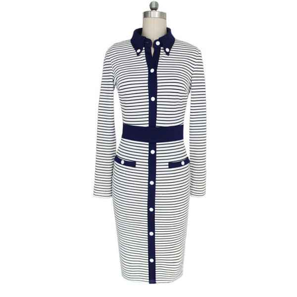 Women's Elegant Striped Lapel Collar Long Sleeve Bodycon Sheath Dresses CF1633_03
