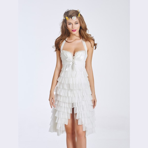 Women's Elegant White Lace Overlay Corset Dress With Underwire Cups CF6037 white