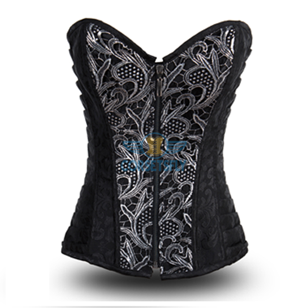 Women's Fashion Sexy Punk Front Zip Up Steel Boned Corset CF8001 Black