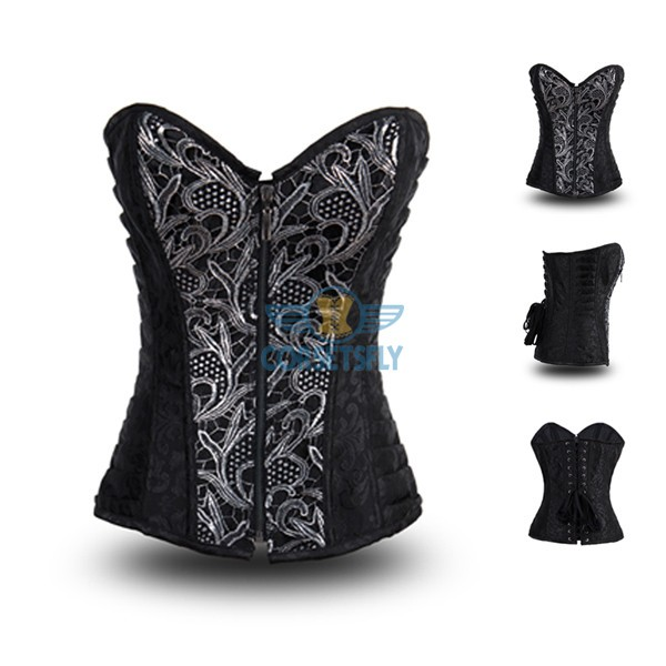 Women's Fashion Sexy Punk Front Zip Up Steel Boned Corset CF8001 Black_01