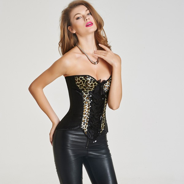 Women's Fashionable Animal Leopard Print Overlay Lace-up Overbust Corset CF6005 black_01