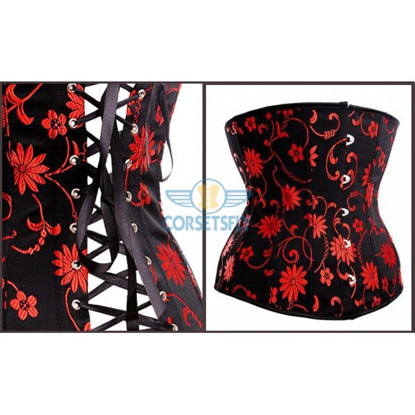 Women's Fashionable Floral Patterned Clasp Buck Closure Front Waist Trainer Corset CF5520_01