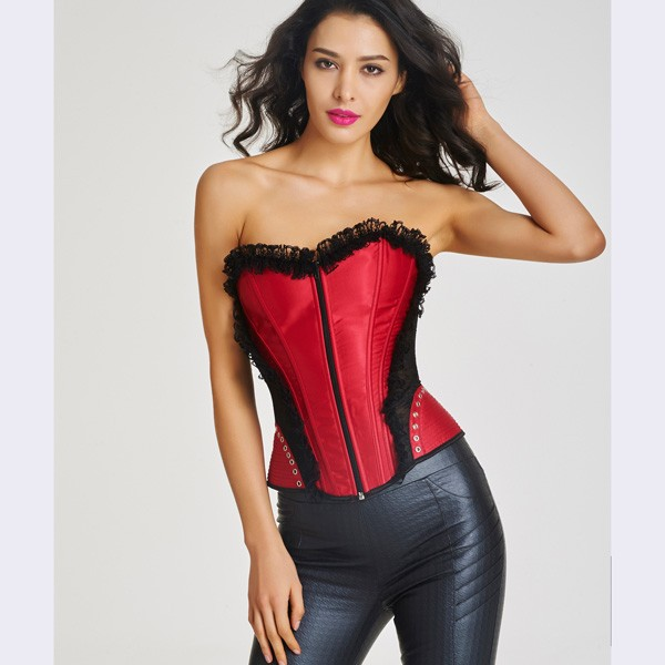 Women's Front Zipper Premium Satin Overbust Corset With Floral Lace CF6002 red