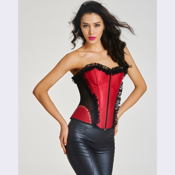 Women's Front Zipper Premium Satin Overbust Corset With Floral Lace CF6002 red_01