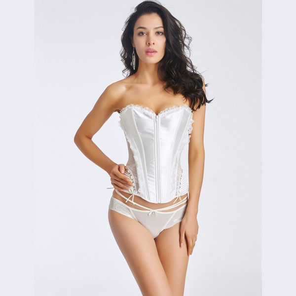 Women's Front Zipper Premium Satin Overbust Corset With Floral Lace CF6002 white