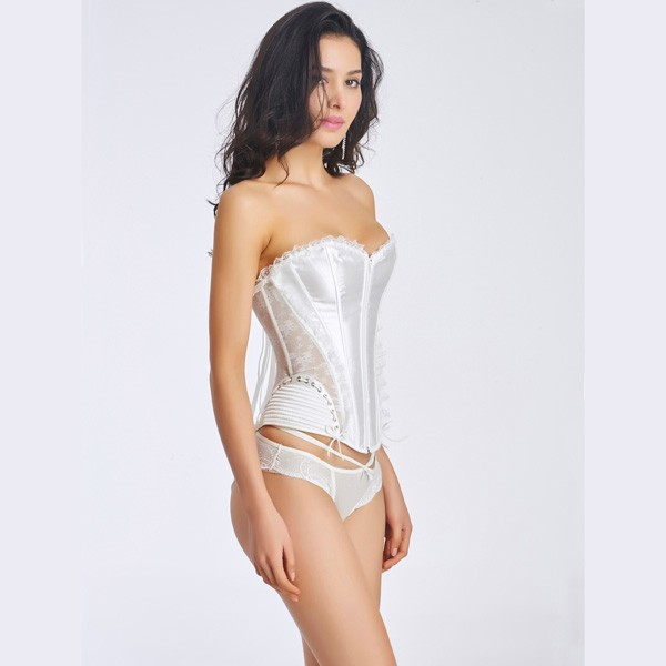 Women's Front Zipper Premium Satin Overbust Corset With Floral Lace CF6002 white_01