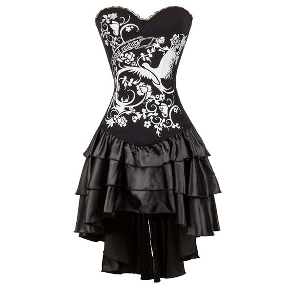 Women's Gothic Lace Corset Tops with Multi Layered Chiffon Skirt Set CF8064_01