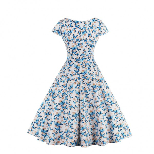 Women's Pinup Vintage Cap Sleeve Cocktail Party Rockabilly Swing Dress CF1446 Blue_02