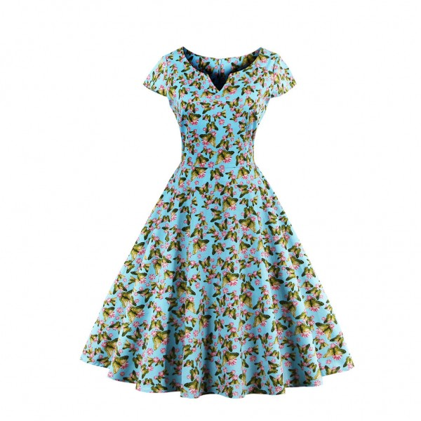 Women's Pinup Vintage Cap Sleeve Cocktail Party Rockabilly Swing Dress CF1446 Green_01