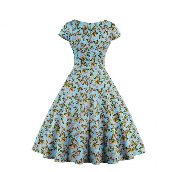Women's Pinup Vintage Cap Sleeve Cocktail Party Rockabilly Swing Dress CF1446 Green_05