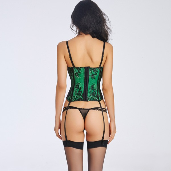 Women's Sexy Beauty Floar Lace Overlay Bustier With underwire cups CF6012 green_02