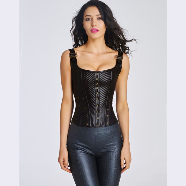 Women's Sexy Faux Leather Bustier Corset With Lace Up Back CF6022 black_01