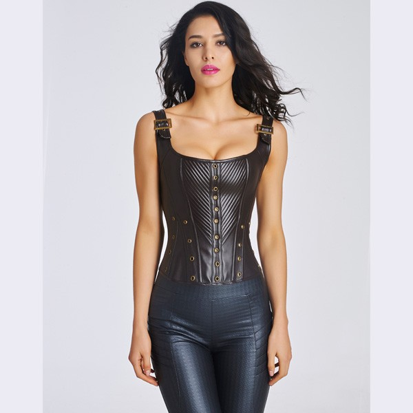 d78581d4d34 Women s Sexy Faux Leather Bustier Corset With Lace Up Back CF6022 black ...