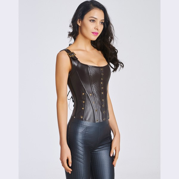 Women's Sexy Faux Leather Bustier Corset With Lace Up Back CF6022 black_02